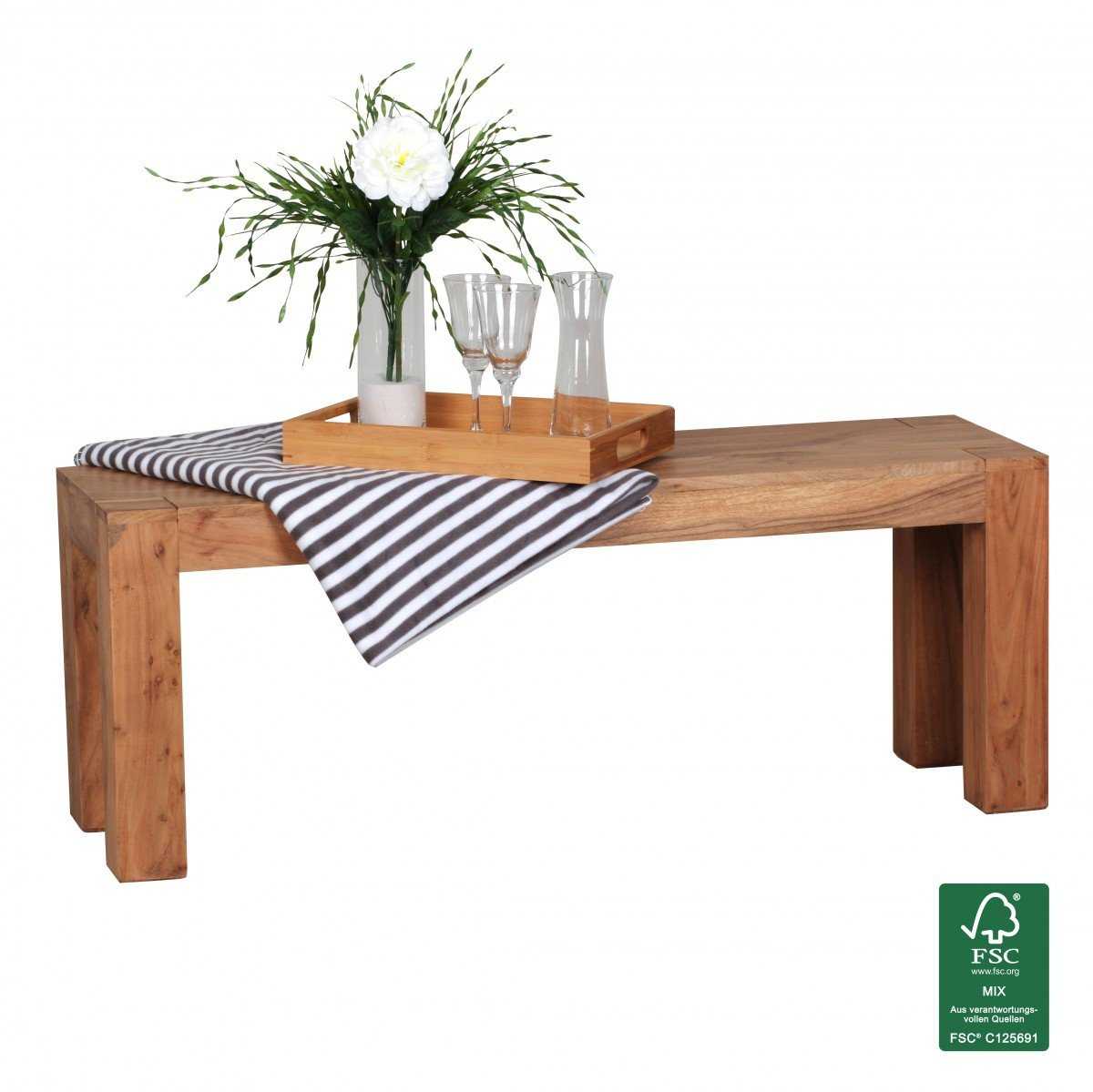 FineBuy Esszimmer Sitzbank Massiv Holz Akazie 120 X 45 X 35 Cm Design  Holz Bank Natur Produkt Küchenbank Landhaus Stil Dunkel Braun Bank 3 Sitzer  Für Innen ...