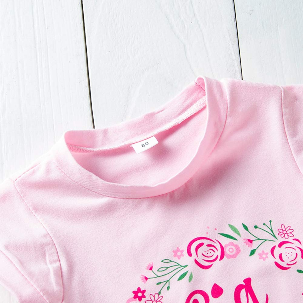 Anywow Big Sister T-Shirt Toddler Girls Floral Short Sleeve Top Blouse Big Sister Announcement Shirt 1-6Y