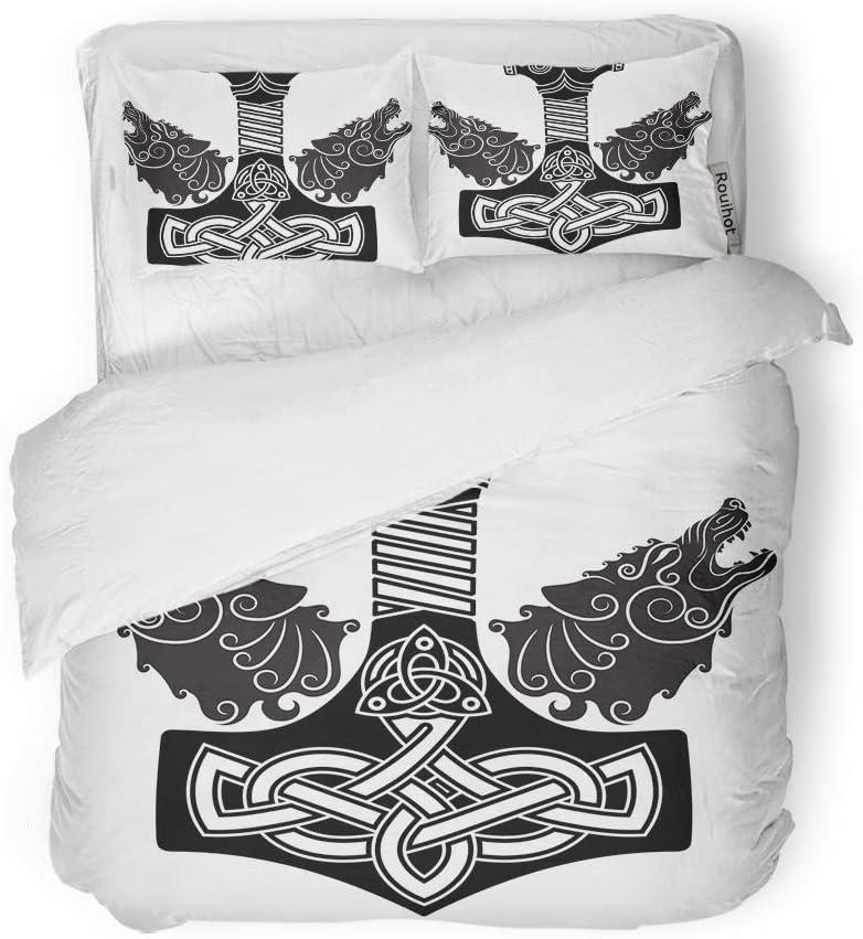 rouihot Duvet Cover Set Queen/Full Size Viking Thor Hammer Mjollnir Scandinavian and Two Wolfs White 3 Piece Microfiber Fabric Decor Bedding Sets for Bedroom