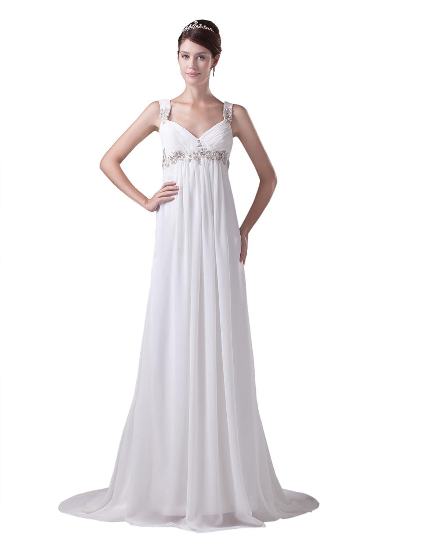 Dresstells Glamourös Damen Kleid Lang Chiffon Abendkleid Ballkleider mit Trägern und Schleppe