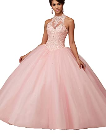 478e98a7362 Amazon.com  Puffy High Neck Lace Applique Tulle Quinceanera Dresses Sweet  16 Ball Gown Prom Dress  Clothing