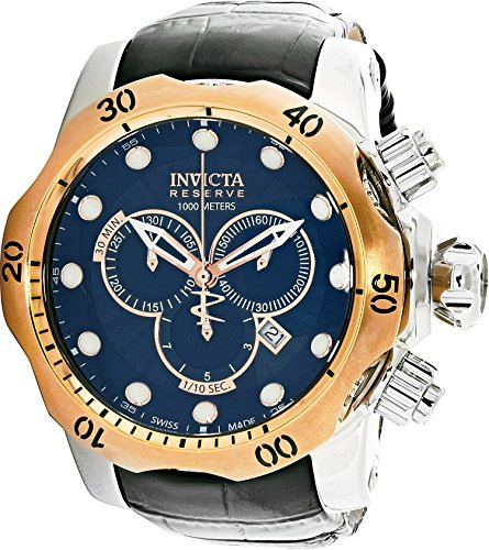 Invicta Men's 0360 Reserve Collection Venom Chronograph Black Leather Watch Invicta Reserve Venom