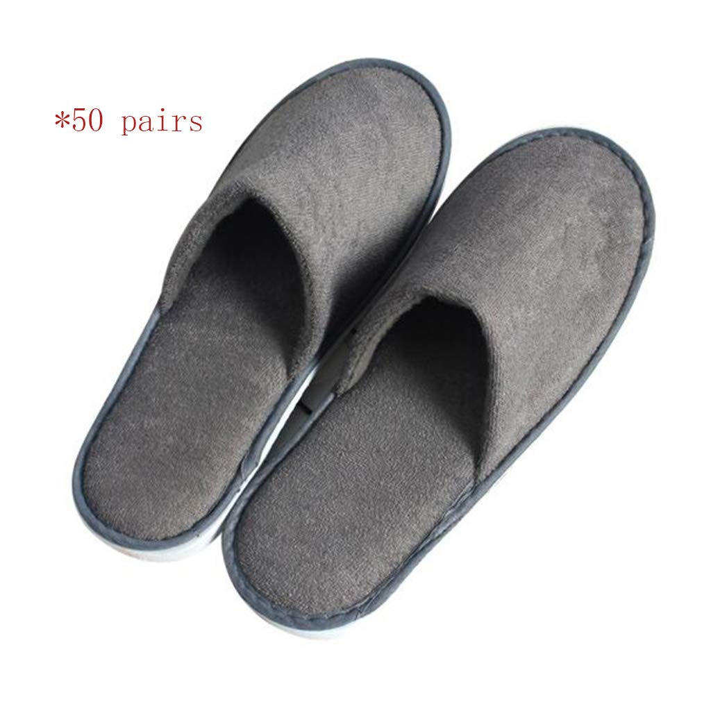 GZZ Disposable Slippers White Disposable Slippers, 50 Pairs of Women's Home Entertaining Guest Disposable Slippers, Grey Disposable Slippers for Male Hotel Rooms