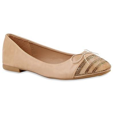 Modische Damen Ballerinas Ketten Halb Neon Slipper Schuhe 118146 Creme Glatt Steinchen 36 Flandell aTv1h
