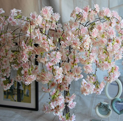 Japanese Wedding Flowers - Skyseen 3PCS Artificial Cherry Blossom Branches Flowers Stems Silk Tall Fake Flower Arrangements for Home Wedding Decoration 55.1 Inch,Light Pink