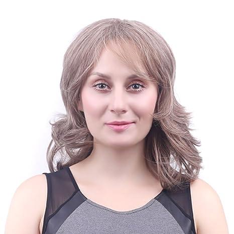 wig Peluca Corta de Señoras Moda Marrón Claro Flequillo Oblicuo Corto Cabello Rizado Señoras Capuchas Mullidas