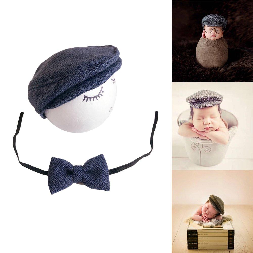 Auberllus Infant Newborn Baby Girl Boy Little Gentleman Hat Tie Cotton Fabric Photography Props Outfits Costume