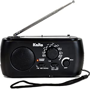 Kaito KA331 Portable Hand Crank AM/FM NOAA Weather Radio with Cell Phone Charger & 3-LED Flashlight, Color Black