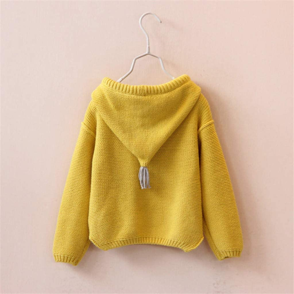 Toddler Hooded Sweater Kids Baby Girls Long Sleeve Solid Knit Hoodie Sweatshirt Crochet Tops Clothes Outfits Winter Autumn