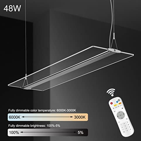 KJLARS LED Pendelleuchte Dimmbar Hoehenverstellbar Hängeleuchte Pendellampe  Für Büro LED Panel Hängelampe, Für Esstisch Büroleuchte