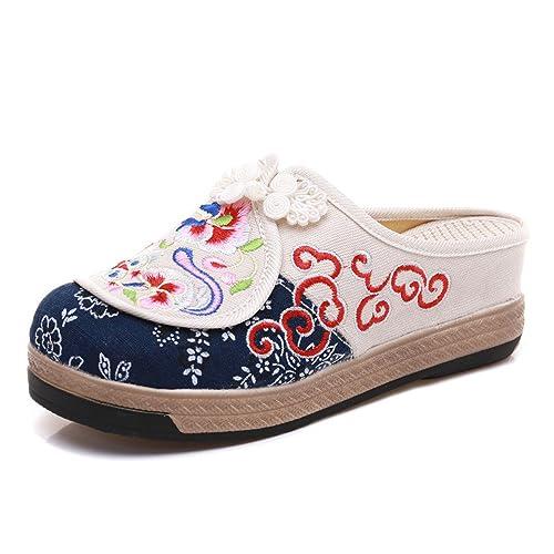 Zapatillas Bordadas Estilo Chino Sandalias Ocasionales Zapatos de Lona Verano: Amazon.es: Zapatos y complementos