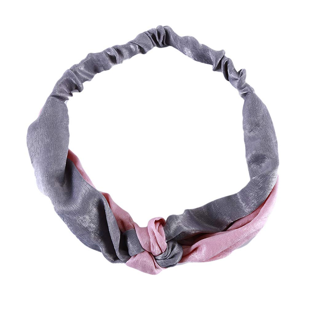 LANWF Cross-knot Hair Bands Headbands Elastic Sport Headwraps Hairband Hair Accessories for Women,Pink + gray