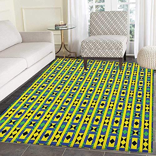 Funky Borders - Kente Pattern Rug Kid Carpet Geometric Vertical Borders Funky Colorful Native Kenya Design with Triangles Home Decor Foor Carpe 4'x6' Multicolor