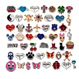 RUBYCA Wholesale 100pcs Floating Charms Lot for DIY Glass Living Memory Locket Silver Gold Color Mix 7 by RUBYCA