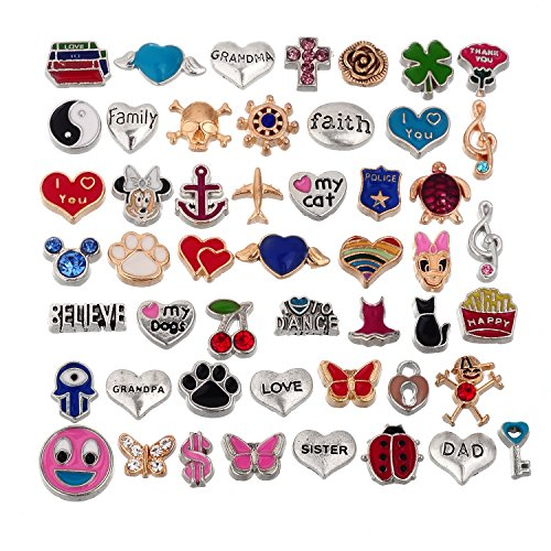 - RUBYCA Wholesale 200pcs Floating Charms Lot for DIY Glass Living Memory Locket Silver Gold Color Mix 7