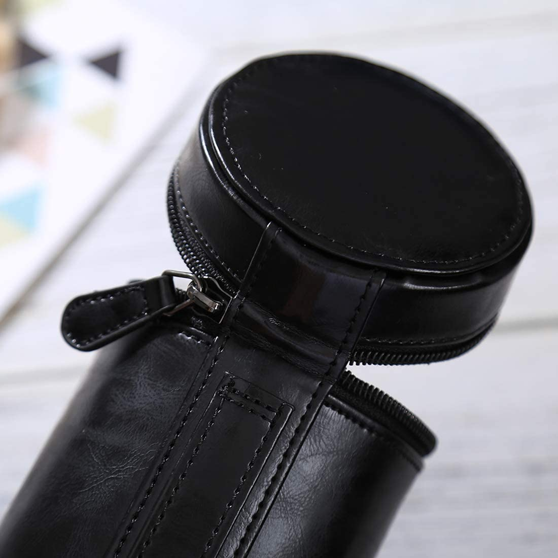 Size XIAOMIN Medium Lens Case Zippered PU Leather Pouch Box for DSLR Camera Lens Color : Black 13x9x9cm Premium Material