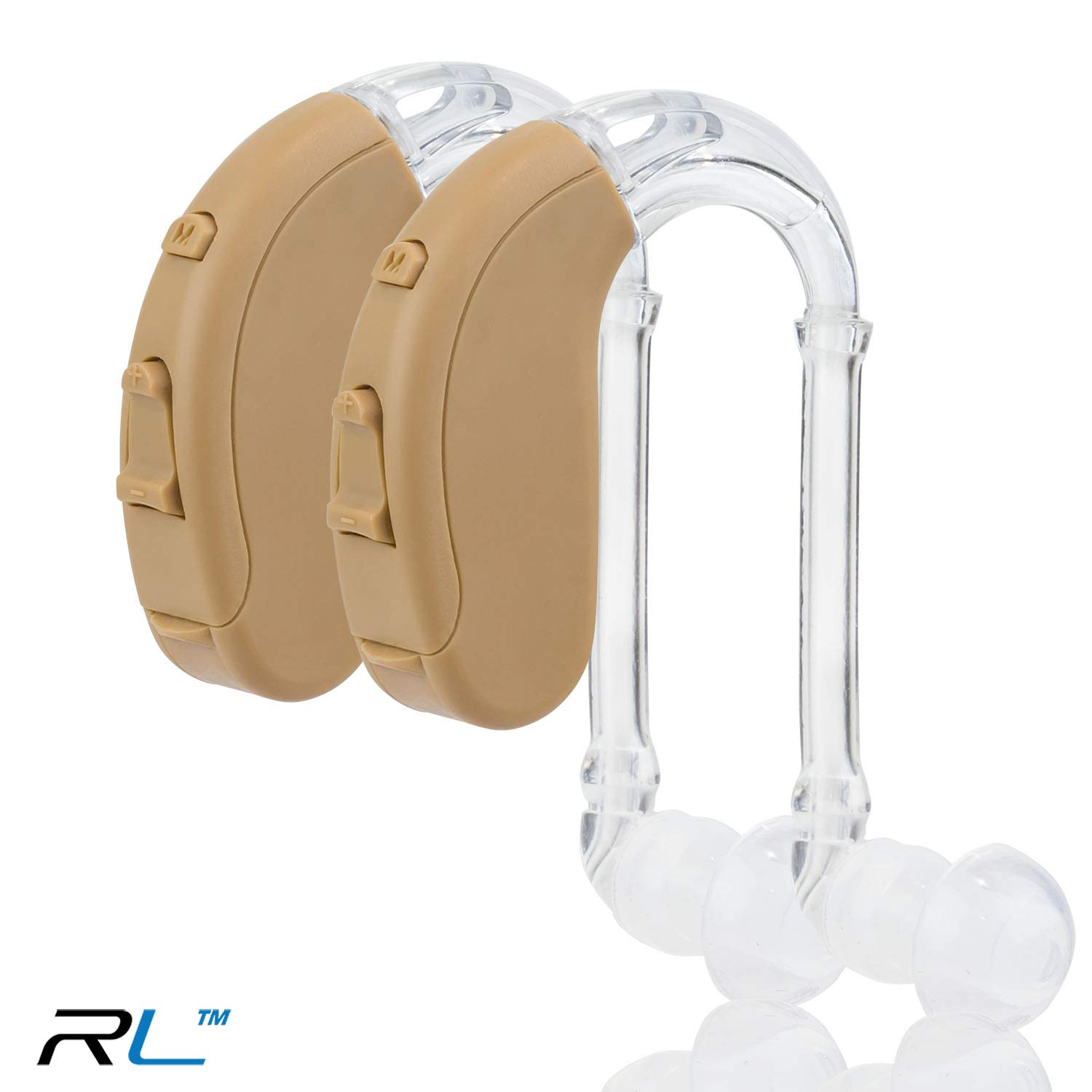 Digital Hearing Amplifiers - Sound Amplifier Device for Adults & Seniors - Small & Lightweight - 10 Days of Battery Life by R&L (Beige 2 Pack)