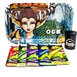 Bundle - 7 Items OCB Rolling Tray with (5) Assorted King Pin Hemp Wraps All Natural (Artist Series)