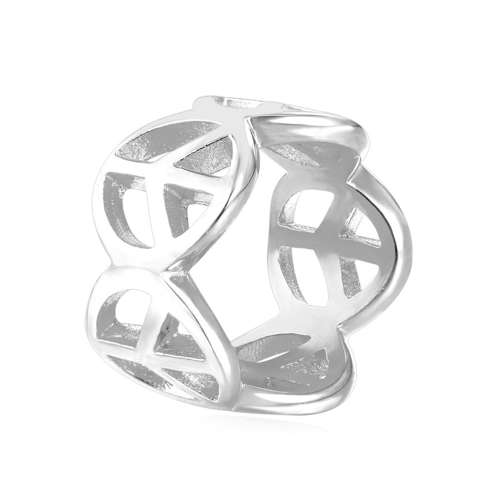 U7 Stainless Steel18k Gold Plated Peace Sign Ring 13mm Wide Size