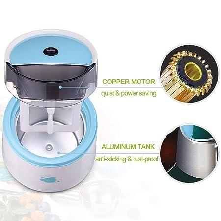 MEISHENG Máquina automática para Hacer Helados - Mezclador de Yogur y Postre Hecho en casa - Frutas congeladas Mini y portátiles (sin Cuchara) (Azul): ...