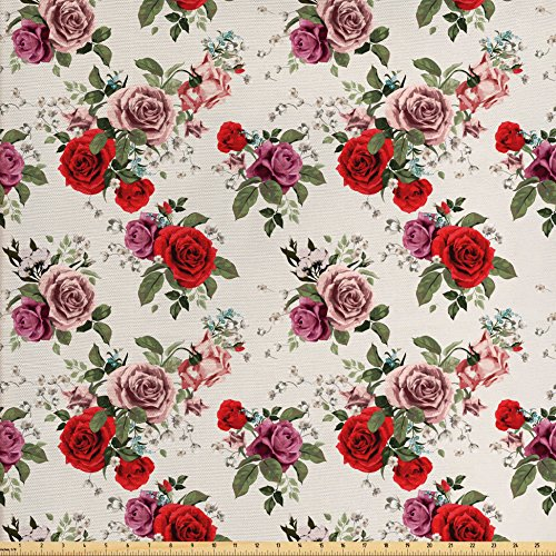 Shabby Chic Fabric by the Yard by Ambesonne, Summer Spring Romantic Valetines Day Themed Flowers Roses Leaf, Decorative Fabric for Upholstery and Home Accents, Forest Green Red and - Day Valetines Ideas