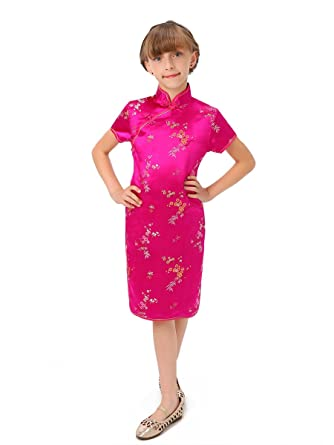 794c2a5c0 Amazon.com: Fuchsia Blossom and Leaves Little Chinese Qipao Dress ...