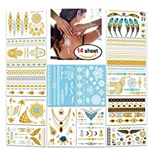 Metallic Flash Tattoos,Konsait 196 Designs - Jewelry Bling Temporary Tattoos & Body Art Indian Henna White Henna Lace Tattoo Gold Silver Holiday Gift Present-14 Sheets