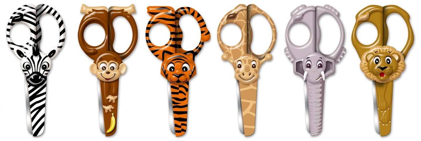 Westcott Wild Ones! Funny Kids Animal Design 5 inch Scissors - Assorted Colours (Set of 6)