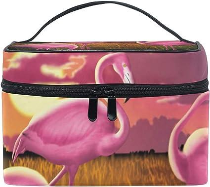 FANTAZIO bolsa de maquillaje barato rosa Flamingo Sunset maquillaje organizador: Amazon.es: Belleza