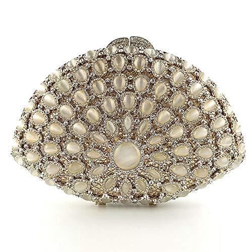 da metallo Perle Matrimonio Woman Per da Coloryan di sposa Shell a partito notte Hollow borsa Clutch Matrimonio la classico della forma borsa aTBBxqF
