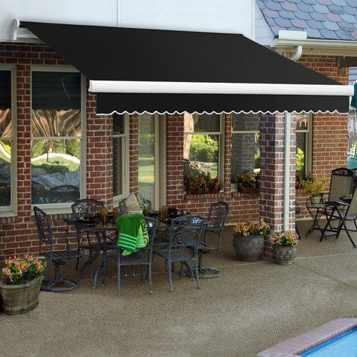 Awntech 8-Feet Maui-LX Manual Retractable Acrylic Awning, 84-Inch Projection, Black