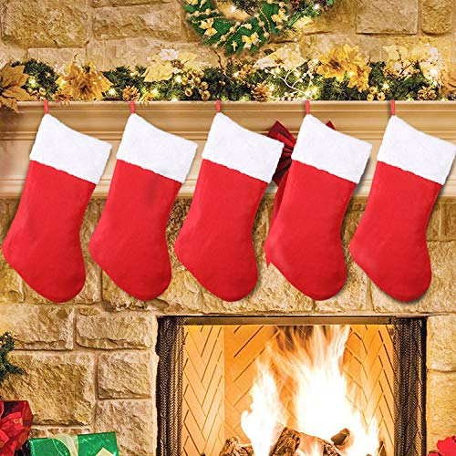 SHareconn Christmas Stockings,5 Pack 16 Inch Big Christmas Kids Gift Stocking Bags and Christmas Hanging Socks for Gift Holding,Party Decoration DIY Craft (Red & White)