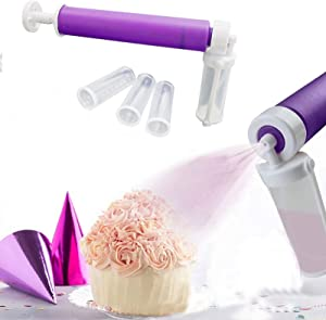 Cake Manual Airbrush,Cakes Coloring Manual Spray Guns Kit,Baking DIY Pressure Spray Tube with 4 Containers Labeled Measurements,for Decorating Cupcakes and Desserts
