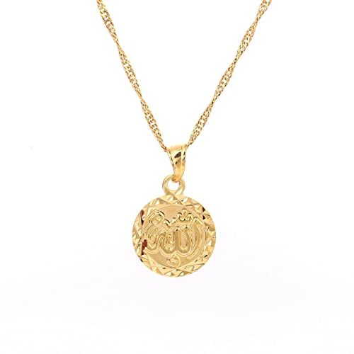 Small cute allah gold pendant necklace chain islam round pendant small cute allah gold pendant necklace chain islam round pendant jewelry aloadofball Images