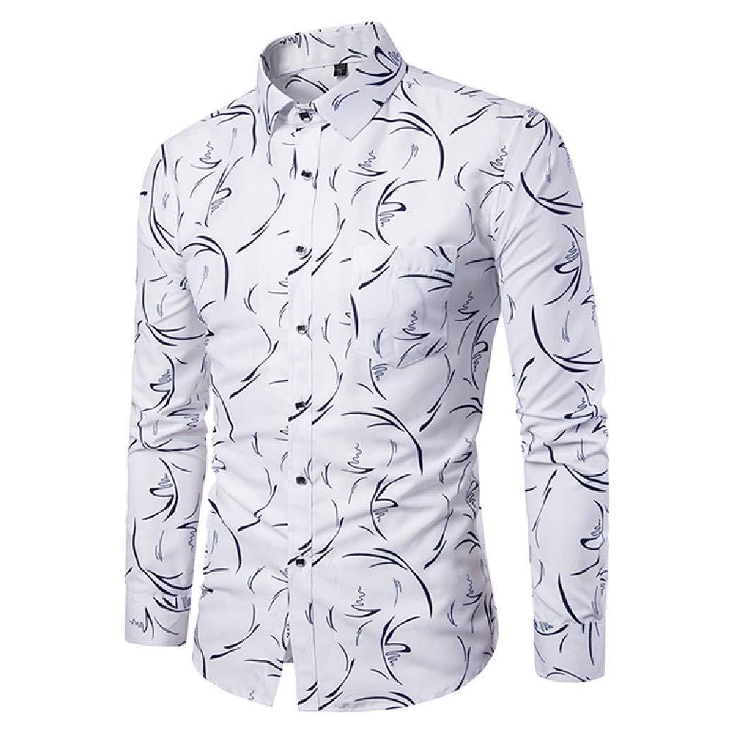 Mfasica Mens Digital Print Long-Sleeve Plus Size Square Collor Silm Fit Dress Shirts