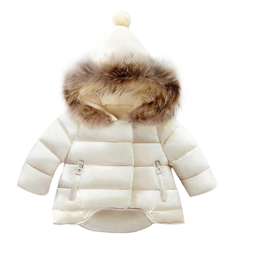 Blanc 130cm BAINASIQI 2017 Filles Bébés Veste Chaude Manteau Rembourrée Col de Fourrure d'hiver