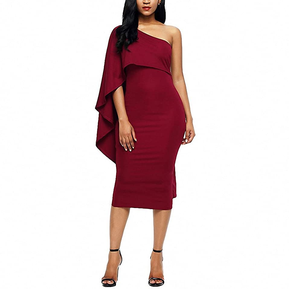 Burgundy Batwing Sleeve One Shoulder Sheath Dress Bodycon Party Club Midi Dress Summer Women Pencil Dresses at Amazon Womens Clothing store: