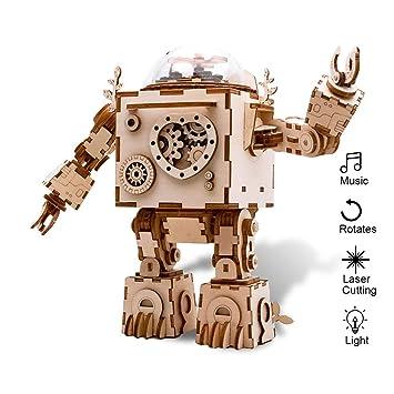Amazon Com Eggschale Diy Music Box Kit Machinarium 3d Puzzle Wooden