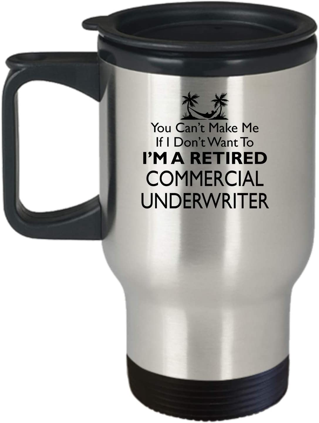 Amazon Com Commercial Underwriter Retirement Travel Mug Aa154 Funny Retiring Coworker Colleague Gift I M Retired Insulated Tumbler With Handle Travelling Cup For Men Women Kitchen Dining
