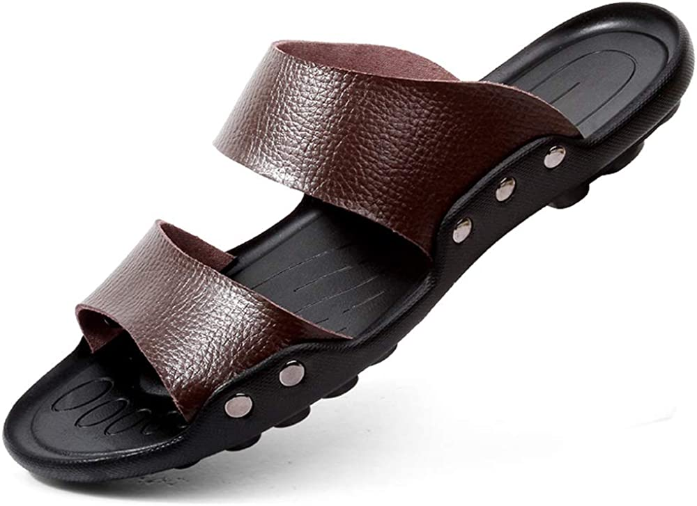 M US Muyin Sandals for Men Fashion Slipper Shoes Lace Up Style OX Leather Rivet Reinforcement Two Styles Color : Slipper Brown, Size : 9.5 D