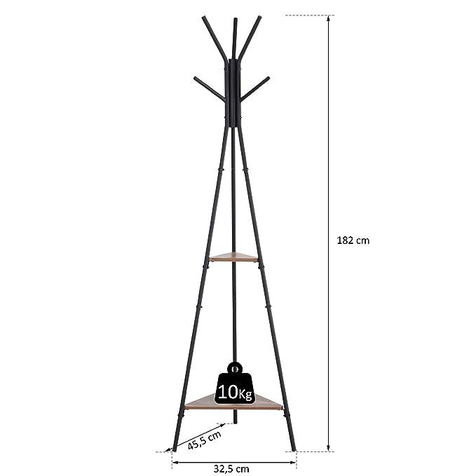 HOMCOM Perchero de Pie Metálico Perchero en Forma de Árbol Dormitorio Oficina para Colgar Ropa Bolsas Sombrero 6 Ganchos con 2 Estantes ...
