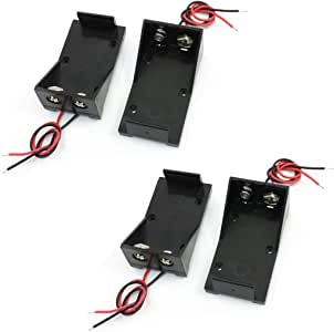 RuiLing 4pcs 9V Battery Holder Box with 2X Lead Wire Spring Clip DIY Plastic Cell Batteries Container