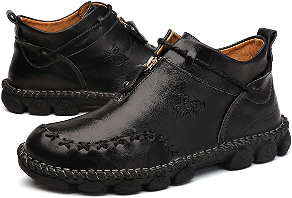 Pumoes Mens Ankle Boots Hand Stitching