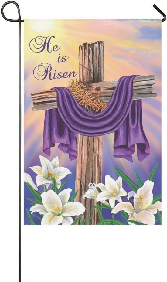 """Rossne G sun Garden Flag Easter Cross He Is Risen House Flag Decoration Double Sided Flag 12.5"""" x 18"""""""