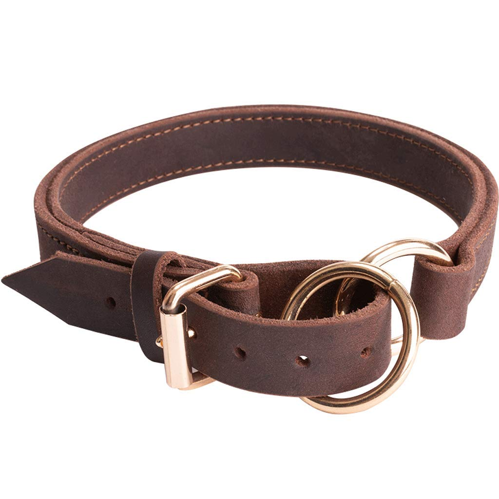 M Double Leather Pet Collar Dark Brown Thick and Durable Dog Chain Suitable for Medium and Large Pets (Size   M)