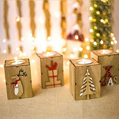 Christmas Tree Candle Holder.Firlar Christmas Wood Candle Holders Wooden Candlestick Tealight Candle Holder For Home Xmas Party Decoration Creative Gifts 4pcs Set
