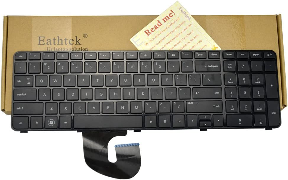 Eathtek Replacement Keyboard with Frame Compatible for HP Pavilion DV7-4000 DV7-4030 DV7-4050 DV7-4100 DV7-4269WM DV7-4177NR DV7-5001XX Series Black US Layout (Not fit DV7 DV7-1000 Laptop!!)