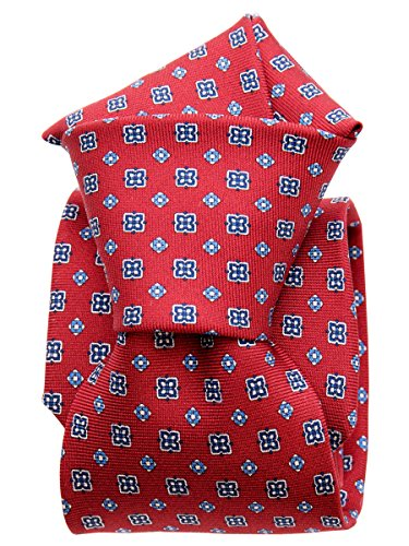 Elizabetta Men's Luxury Handmade Printed Italian Silk Twill Necktie, Red (Mens Ties Italian compare prices)