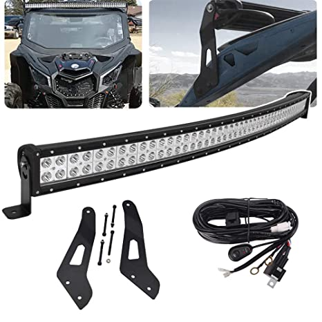 52 inch 288W Offroad Curved LED Light Bar Spot/Flood Combo Beam & Upper  Roof Windshield Mounting Brackets w/Wiring Kit Fit 2017 2018 2019 Can-am
