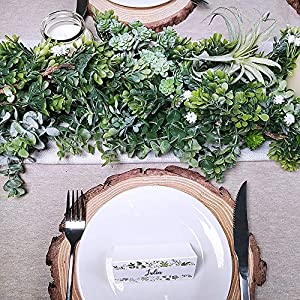 "WINDIY SUPLA 6.6' Long 4.3"" Wide Artificial Boxwood Greenery Garland Faux Boxwood Greenery Garland String Hanging Boxwood Twigs Vine Garland Table Runner for Spring Weddings Indoor Outdoor Décor 5"